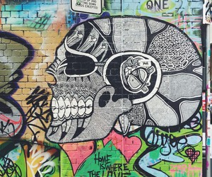 art, skull, and colourful image