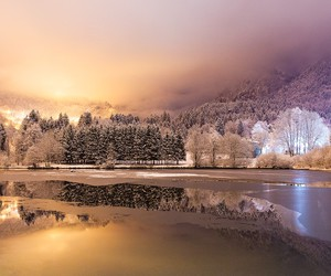 italy, snow, and lake image