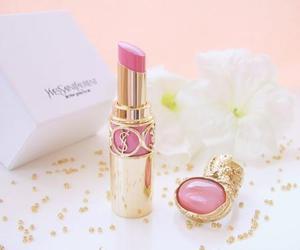 pink, lipstick, and YSL image