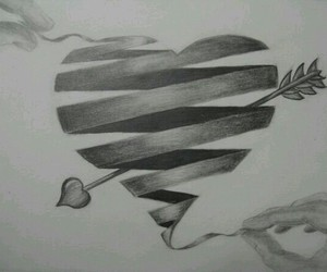 drawing, heart, and arrow image