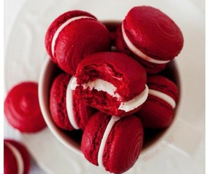 macaroons, velvet, and red image