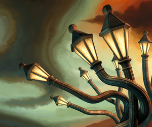 gas lamps, street lamps, and dali. image