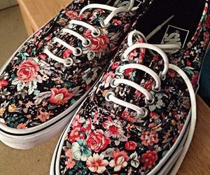 vans, shoes, and floral image
