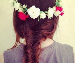 hair, roses, and flower wreath image