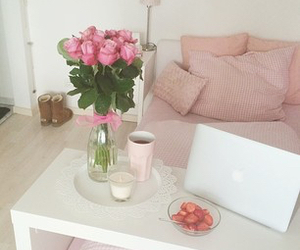 candle, coffee, and flowers image