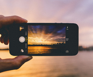 iphone, sunset, and photo image