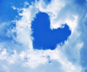 clouds, heart, and blue image