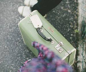 vintage, suitcase, and green image