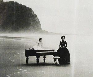 piano, black and white, and beach image