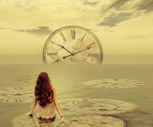 girl, time, and sea image