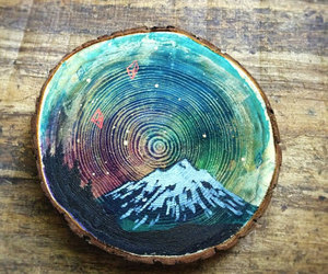art, mountains, and tree image