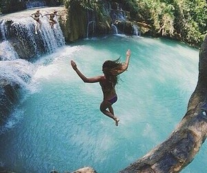 beauty, jump, and water image