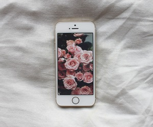 iphone, flowers, and rose image