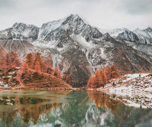 mountains, lake, and leaves image