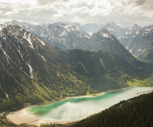 green, lake, and mountains image