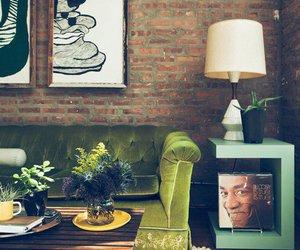 green, living room, and sofa image