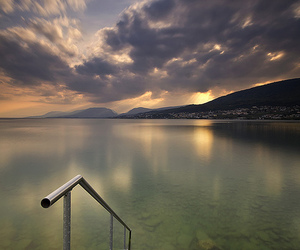 clouds, lake, and landscape image