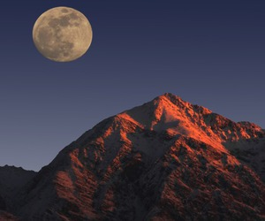 moon, mountains, and rocks image