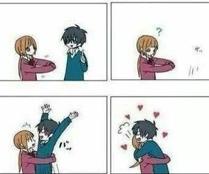 love, hug, and anime image