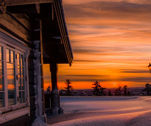 cold, snow, and sunset image