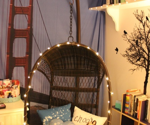 hanging chair, lights, and tumblr image