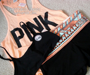 pink, outfit, and workout image
