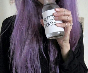 purple hair, pastel grunge, and hater tears image