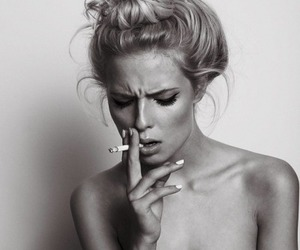 girl, cigarette, and smoke image