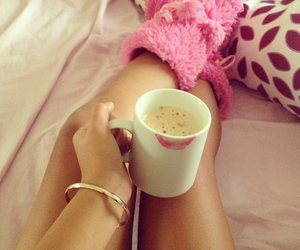 coffee, pink, and bed image