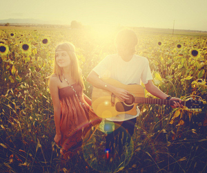 boy, guitar, and couple image