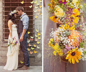 flowers and wedding dress image