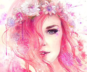 <3, blue eyes, and flowers image
