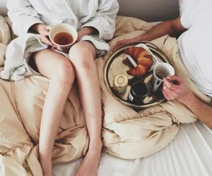 coffee, couple, and happy image