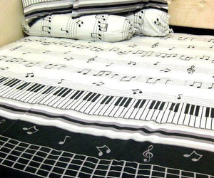 music, piano, and bed image