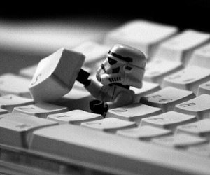 star wars, keyboard, and black and white image