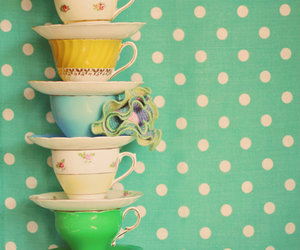 cup, flowers, and polka dots image