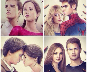 divergent, spiderman, and the fault in our stars image