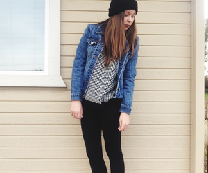 beanie, sweater, and urban image