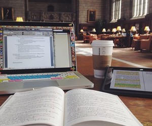 study, book, and coffee image