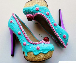blue, shoes, and cupcake image