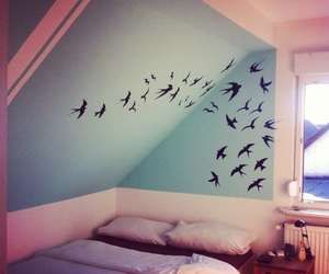 bed, birds, and blue image
