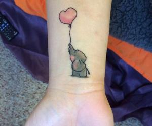 elephant, tattoo, and pink image