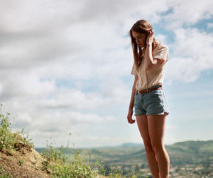 girl, pretty, and sky image