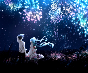anime, fireworks, and vocaloid image