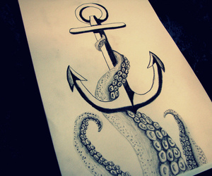 anchor, octopus, and drawing image