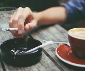 cigarette, coffee, and smoke image