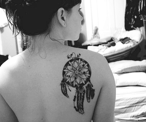 black and white, tatoo, and girl image