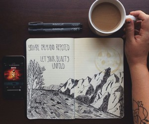 art, coffee, and notebook image