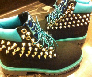 blue, timberland, and black image