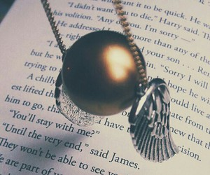 harry potter, book, and snitch image